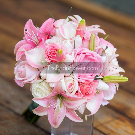 Pink tropical wedding bouquet with pastel pink by for Wedding bouquet tulips and roses