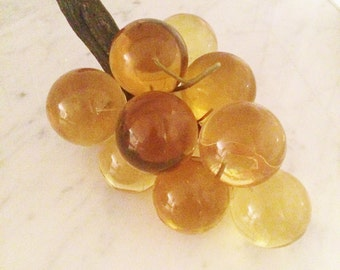 Vintage Amber Lucite Grape Cluster Mid Century Grapes