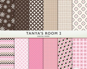 Pink & Brown Digital Paper - Tanya's Room 2 - 12 Sheets - Scrapbooking - Instant Download For Personal and Commercial G7784