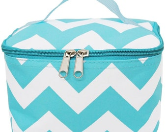 Free Personalization! Monogramed Small Cosmetic Bag,Case, Makeup bag: aqua  chevron
