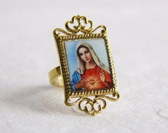 Mary Ring / Antique Style Jewelry / Adjustable Ring / Girl Woman Accessories