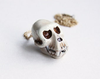 Monkey Skull Necklace / Pendant - Painted Version