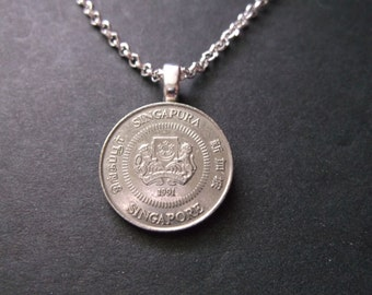 Singapore Coin Necklace - Singapore 10 Cent Pendant with Petite Rolo 1.8mm Chain