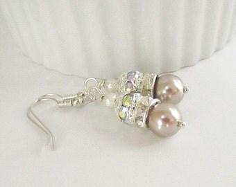 Mocha Pearl Drop Earrings, Taupe Bridesmaid Jewellery, Crystal Dangles, Bridesmaid Gifts, Beige Wedding, Pale Brown Earrings, Wedding Pearls