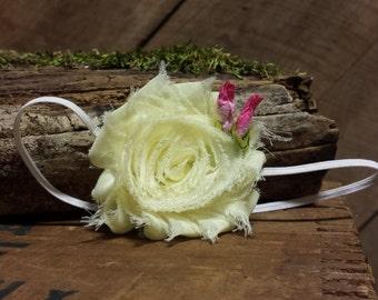 Yellow and Fuchsia Shabby Flower Headband, photo prop, Newborn, toddler, adult