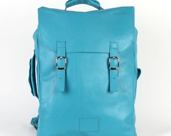 Turquoise large leather backpack rucksack / To order / Leather Backpack / Leather rucksack / Womens backpack / Christmas Gift
