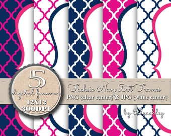 Digital Scallop Frame Set of 5-Fuchsia Navy Quatrefoil-JPG/PNG-Includes both-Downloadable Scallop Digital Frames Navy Fuchsia Pink
