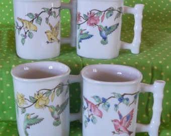 Vintage Bird Lover's Tea Mug Set (4)