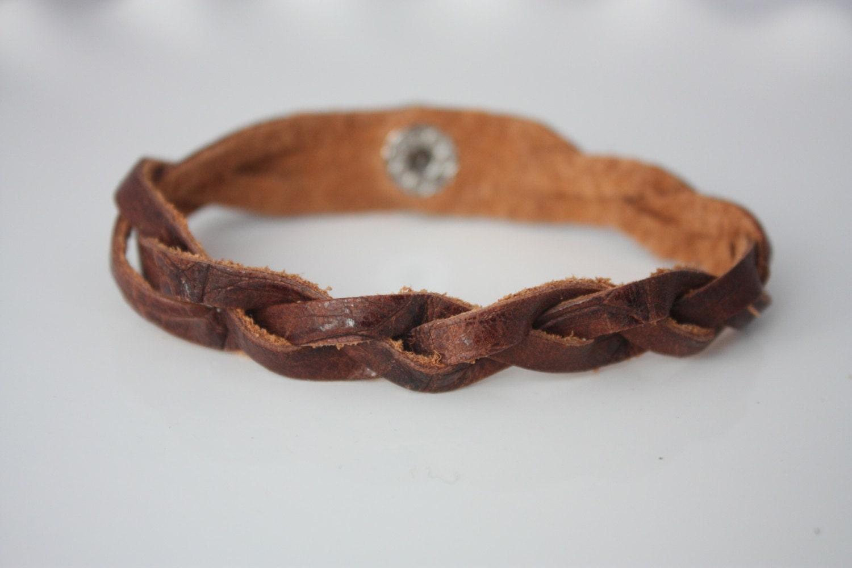 brown braided leather bracelet braid bracelet by
