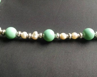 Clearance!!! Turquoise and Fresh Water Pearl Handmade Silver Necklace