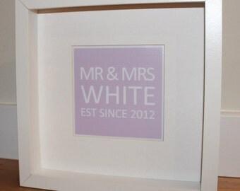 Framed Mr and Mrs Est Since print