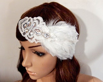 Flapper headband, Gatsby headband, Gatsby Headpiece, Great Gatsby 1920 headpiece, Feather headband, beaded headband, Roaring 20s headband