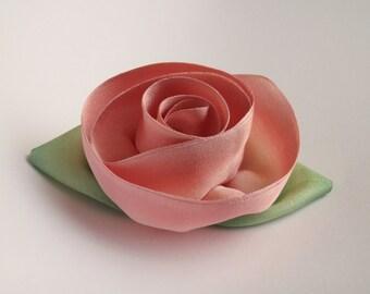 Pale Rose Silk Flower Brooch Silk Rosette Pin Hand Dyed Silk Pin