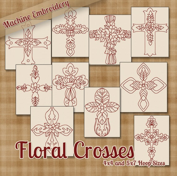 Items similar to floral crosses redwork machine embroidery