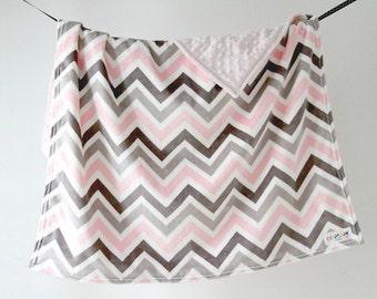 Baby Blanket. Minky Pink Chevron with Pink Dot Minky