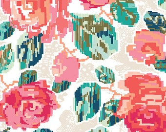 Baby Bedding - Coral, Pink, Mint, and Teal Pixelated Roses