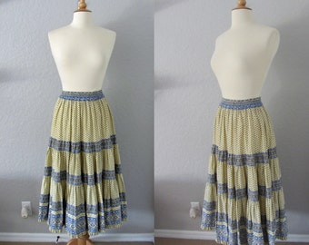 Vintage French Provencale Tiered Cotton Skirt