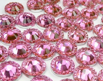 10 Pcs of 14mm Round Pink Cabochons