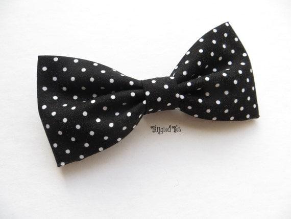 black and white polka dot bow tie wedding bow tie groomsmen