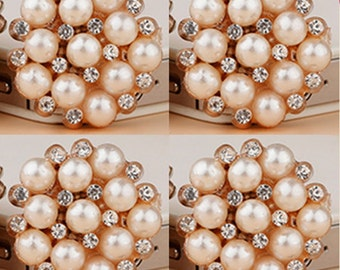 4 Flat Back Rhinestone and Pearl Button (20 mm) DT-003