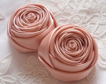 2 Handmade Rolled Roses (2 inches) in Moonstone MY-012 -36 Ready To Ship