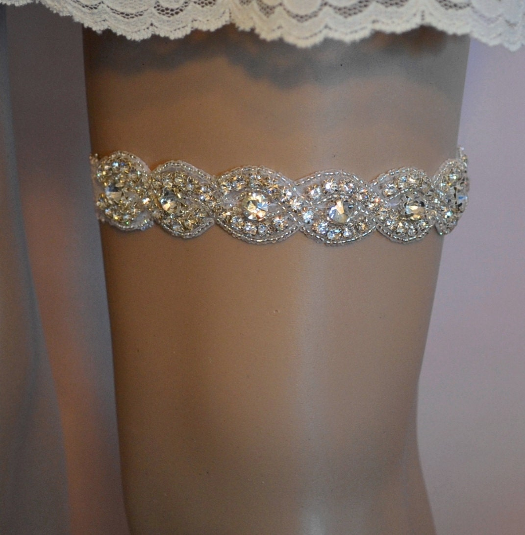 Crystal Wedding Garter: Wedding Garter Rhinestone Wedding Garter Bridal Garter