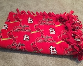 St. Louis Cardinals Fleece Tie Blanket - MLB Baseball Bedding - Baby Shower Gift to Large Adult Sizes - ANY TEAM Available - Custom Made