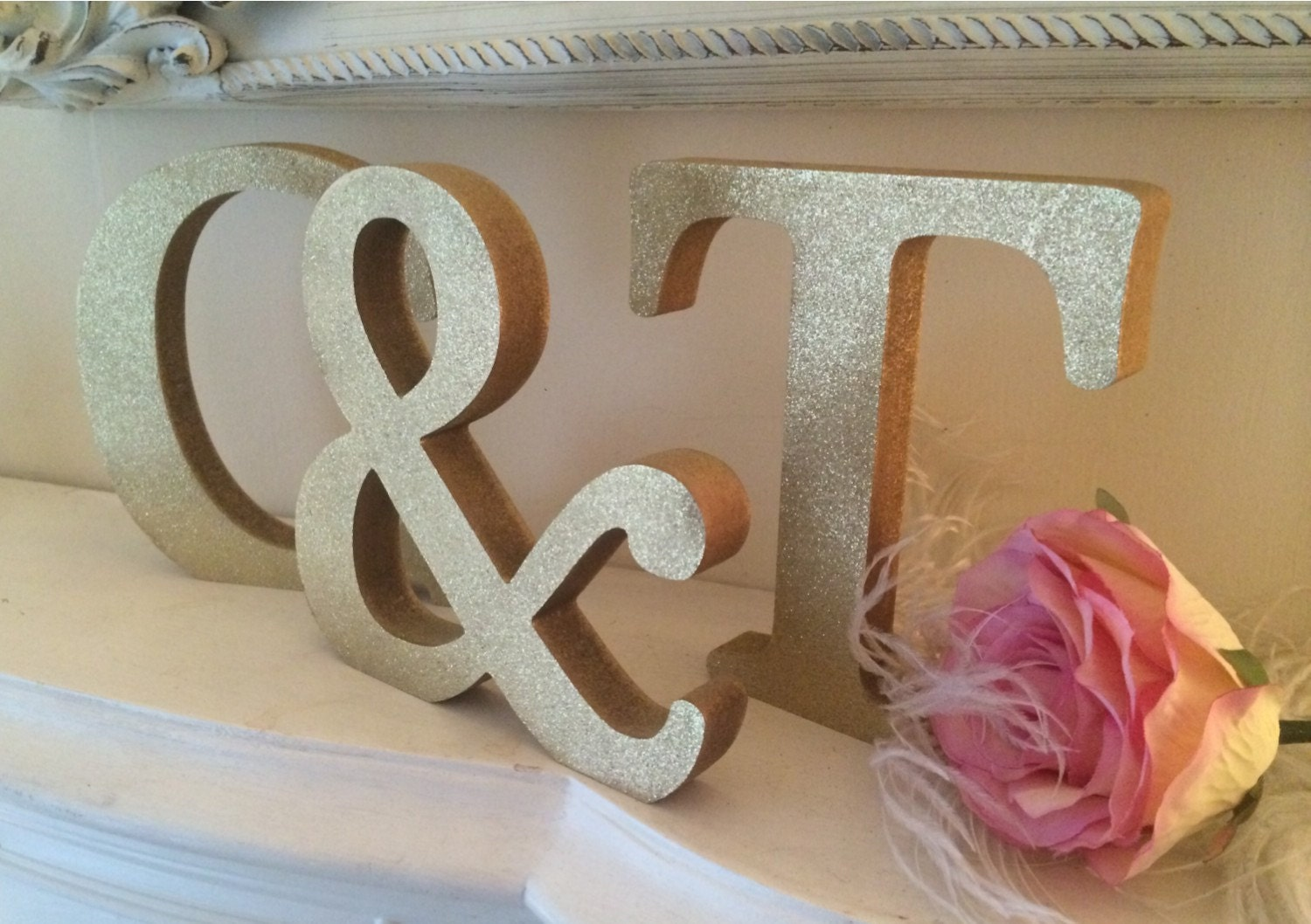 Glitter gold wooden letters personalised for Sparkly wooden letters