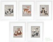 Set of five 8x10 'hello, bear' art prints