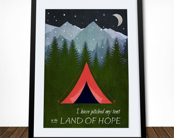 I Have Pitched My Tent, scripture art, scripture print, scripture wall art, bible wall art, inspirational quote, acts 2:25-28