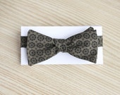 Deep Olive Bow Tie with Black Snow Flake Pattern