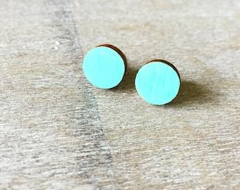 Mint Wood Earring Post- Hypoallergenic Titanium Post- Painted Wood Earrings- Mint Earrings- Painted Mint Studs- Mint Studs- Wooden Mint Stud