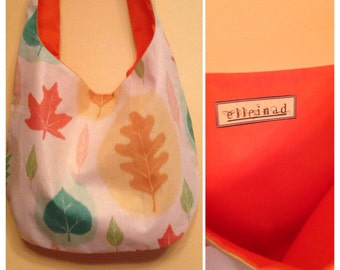 Hobo Bag, shoulder bag, purse, lightweight bag, patchwork, leaves, leafy