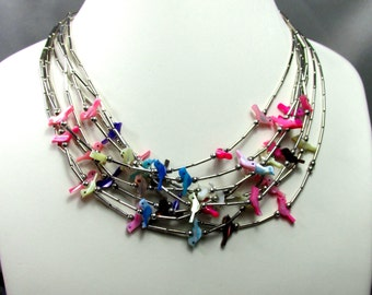 Zuni Fetish Sterling Silver Necklaces - 9 all together - Birds, Mother of Pearl Multi Colored