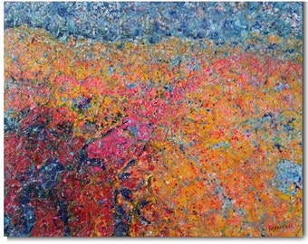 """Original Large Abstract Encaustic Mixed Media Painting  """"Tropical Heat""""  Bright orange, red, blue  Lots of texture"""