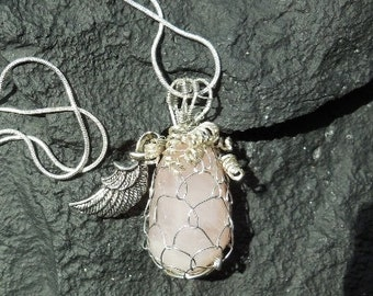 Rose quartz wire wraped necklace in silver and 20 in sterling snake silver chain