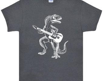 Dinosaur Playing Guitar T Shirt.Men's Gildan Ultra Cotton Adult Tee.Guitar Shirt.Guitar tshirt.Guitar Tee.Dinosaur Shirt Gifts. SEEMBO