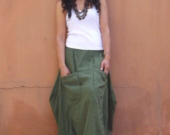 Funky Skirt ...Long Skirt ....Color Green