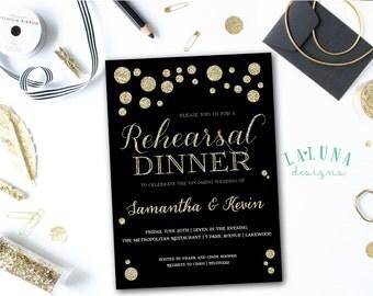 Rehearsal Dinner Invitation, Wedding Rehearsal Dinner Invite, Gold Polka Dots Invitation, DIY Printable Rehearsal Dinner Invite