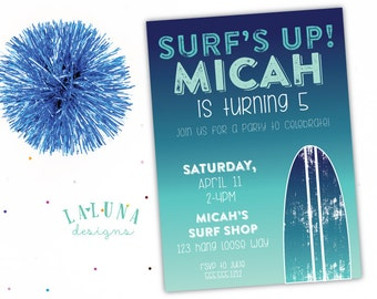 Surfing Birthday Invitation, Surfboard Invitation, Surf Birthday Party, Beach Birthday Invitation, Girl Boy Birthday Invite