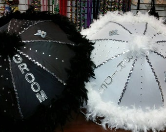 Custom Bride or groom wedding second line umbrella