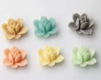 24 pcs of resin lotus flower cabochon RC0011-nature mix-3-30-24-26-44-5