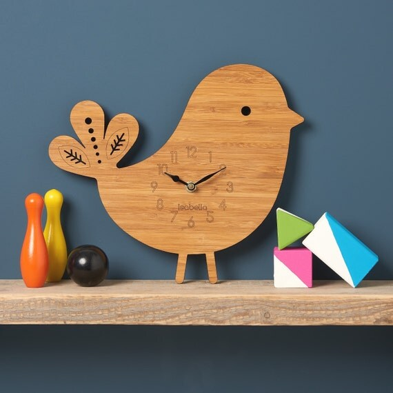 Items Similar To Bird Wall Clock Modern Clock Childrens