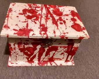 Blood Spattered Wooden Painted Keepsake Box