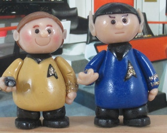 Captain Kirk and Mr. Spock miniature OOAK collectibles Star Trek original series
