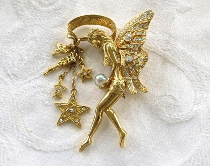 Kirks Folly Fairy Godmother Brooch Guardian Angel Crystal Ball Star Bouquet Crystal Wand Celestial Jewelry