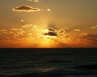 Sunrise On The Ocean Dawn Sky Clouds Beach Shore Seashore Dawn Print Photograph Canvas Art