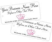Custom Printed Branding Price Tags Pink Crown Image Hang Tags - String Attached Vintage Inspired - Other Colors Available