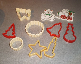 Vintage Lot of Ten Assorted Plastic Christmas Cookie Cutters