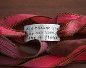 She is Fierce Hand Stamped Ribbon Wrap Bracelet